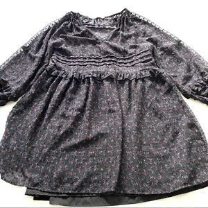 Zara black floral dotted sleeve babydoll dress XS
